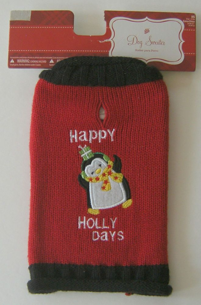 Simply Dog Christmas Sweater Penguin Happy Holly Days XS Extra Chico #SimplyDog