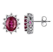 Lab-Created Ruby and White Topaz Earrings in 14k White Gold