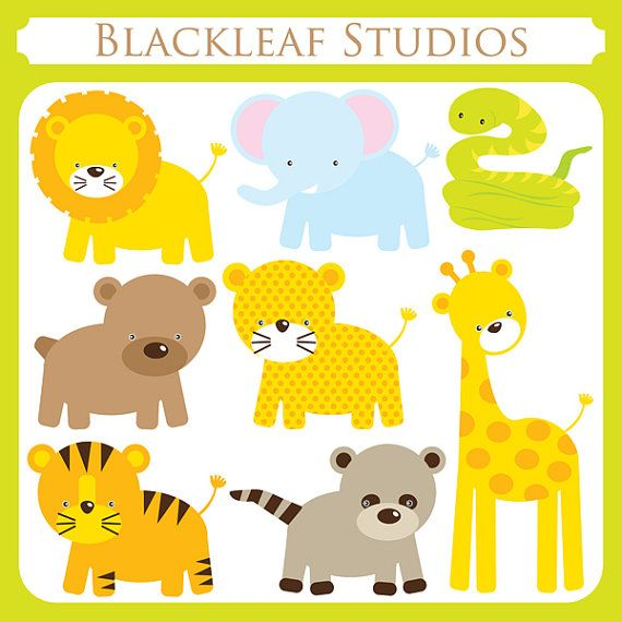 baby animals clip art instant download cute lion giraffe tiger leopard snake safari racoon bear jungle personal and commercial