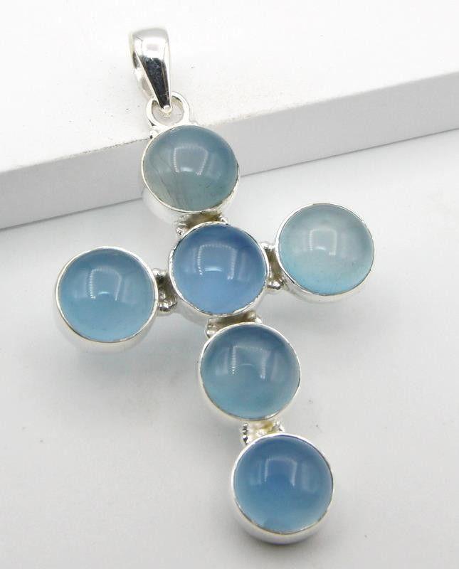 Blue Chalcedony cross pendant - sterling silver