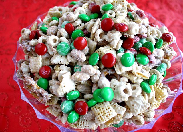 White Chocolate Chex Party Mix with M&M's on MyRecipeMagic.com