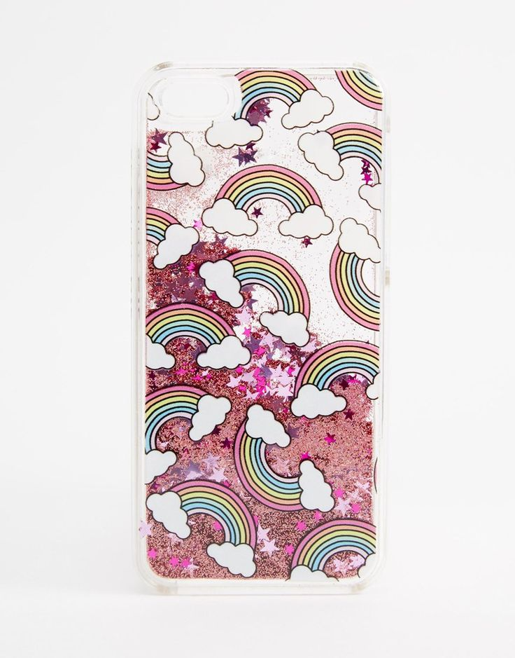 Image 1 of Skinnydip Rainbow Print Liquid Glitter iPhone 5c Case