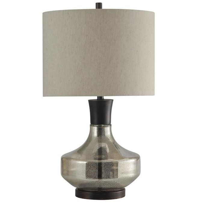 Stylecraft Home Collection 29 In Mercury Glass 3 Way Table Lamp With Fabric Shade Lowes Com Mercury Glass Table Lamp Metal Table Lamps Table Lamp