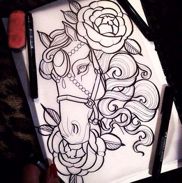 Traditional style horse tattoo for Horse tattoo traditional