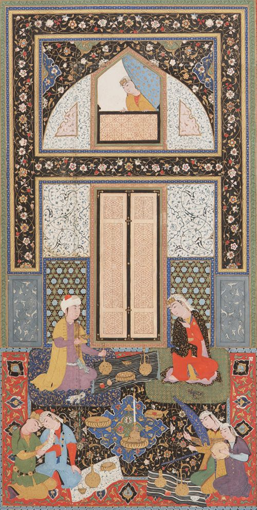 Double-page painting in the Haft Manzar (Seven visages) by Hatifi (d.1521) 1538 (944 A.H.) Signed by Shaykhzada Uzbek period Opaque watercolor, ink and gold on paper H: 26.2 W: 16.8 D: 2.6 cm Bukhara, Uzbekistan