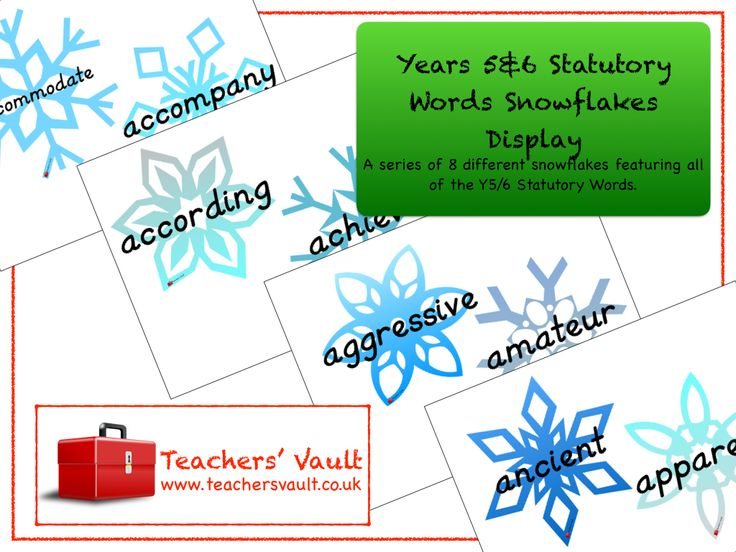 KS2 Statutory Words Snowflakes Display - English Spelling Teaching Resources and Class Displays