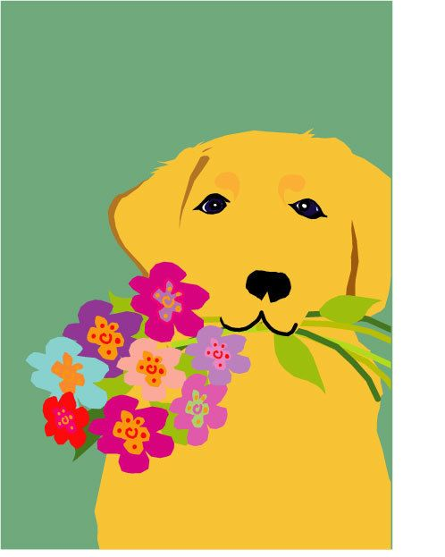 yellow lab greeting card with flowers