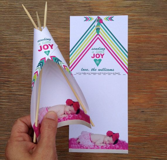 4 Custom Teepee Cards - Sending a little joy - add your own photo and name
