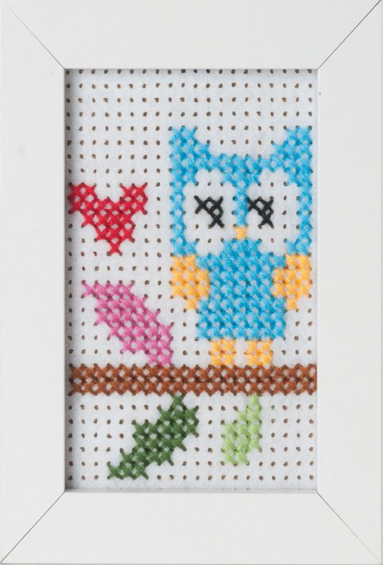 Owl Felt Cross Stitch Kit With Frame £7.75 | Past Impressions | Groves