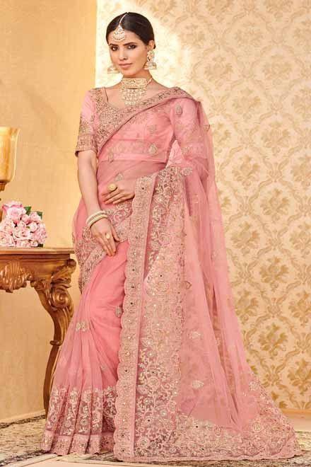 c9e76b858d54eb Buy online Pink colour designer heavy Net saree#saree, #Wedding, #Hot, # Blouse, #Pattu, #Draping, #Farewell, #Photoshoot, #Cotton, #Modern, #Dress,  ...
