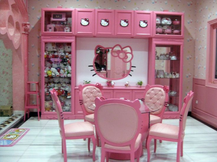 Sweet Hello Kitty House With Pink Interior Decoration Sweet Hello Kitty House Pink Side Chairs