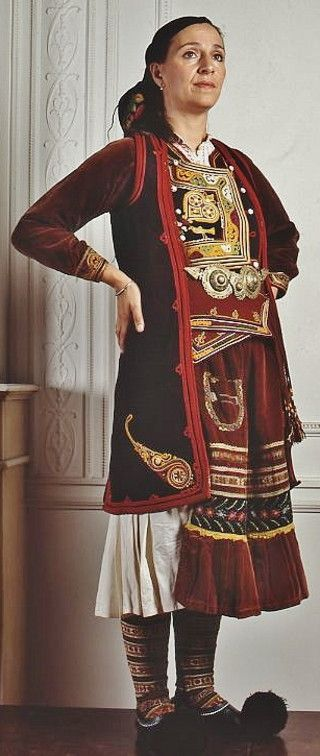 Festive costume from Aghioi Pantes, Thesprotia in Epirus. Worn in several villages of that area up to the northern border of Greece in variations.  Early 20th c.