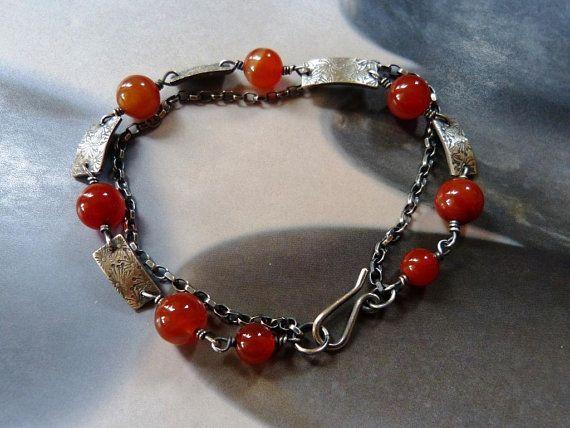 Carnelian dandelion silver bracelet, two strand bracelet, handmade OOAK, 50th birthday gift, anniversary gift, 40th, 30th, sister gift, mom