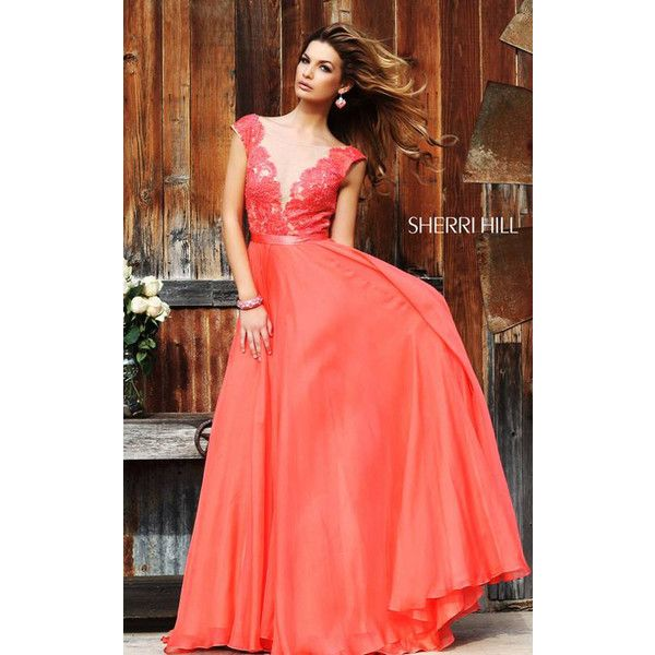 Long Sherri Hill 11269 Coral Illusion Top Homecoming Dress ($225) via Polyvore featuring dresses, dressgownstore, coral red dress, red dress, coral dress, coral homecoming dresses and homecoming dresses