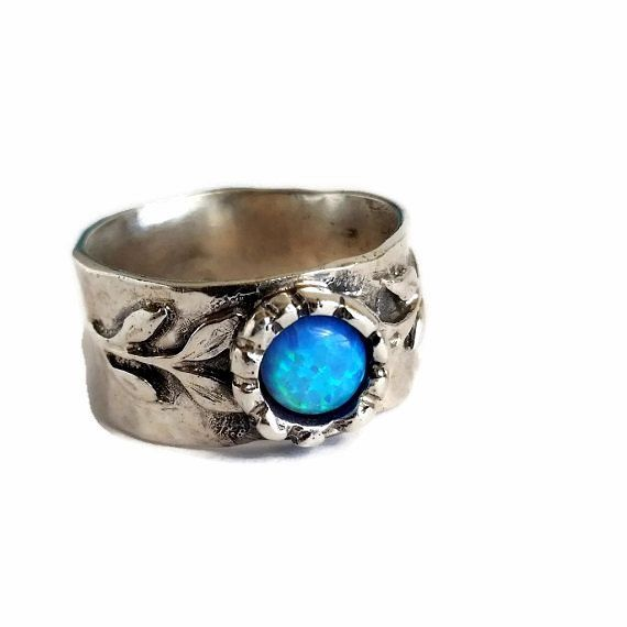 Sterling opal ring , blue opal ring , wide opal ring , silver band ring , opal ring ,  stone ring , branch ring , gift to her , opal jewelry by Kattyoosh on Etsy