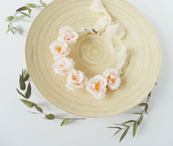 Delicate Flower Crown with Light Pink Flowers for Girl or
