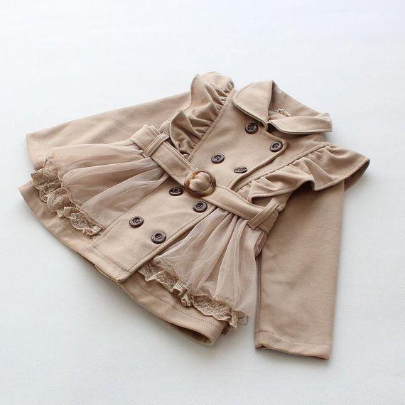 2y,3y,4y,5y,6y toddler girl beiges jacket with belt
