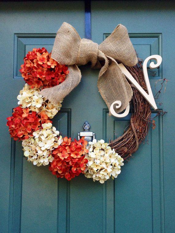 Large Pumpkin Monogram Wreath with Pumpkin Silk Hydrangeas and Bow on Etsy, $55.00