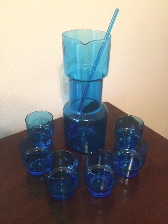 MCM Turquoise Blue Glass 8-Piece Cocktail by LottieDottieVintage