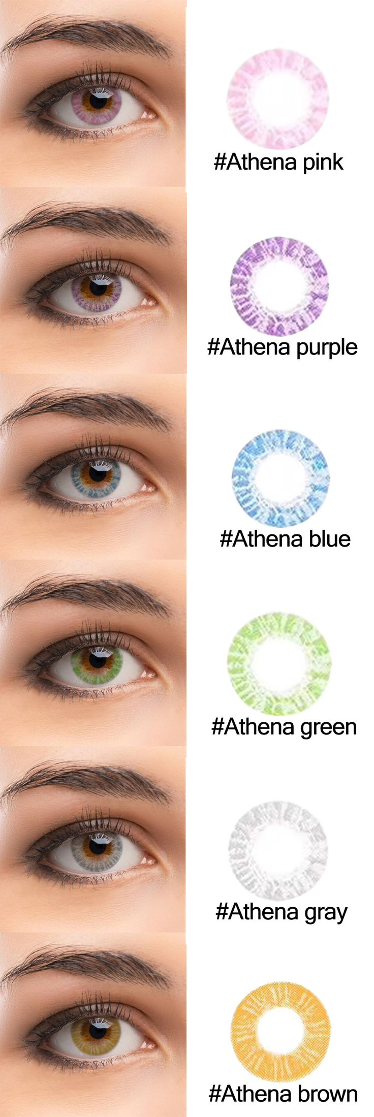 High-end brand @tolytolly. Athena Series colored lenses has six color for choose.There are Athena gray ,Athena green ,Athena purple,Athena pink ,Athena blue and Athena brown.I hope you will like it.Life is colorful,you only need colorful eyes to watch it.