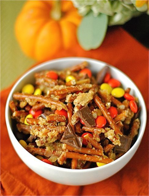 Snack mix with Reeses pieces, pretzels, and chocolate --- great for Fall or any time!