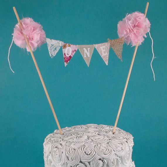 Pink Smash Cake burlap banner First birthday by Hartranftdesign