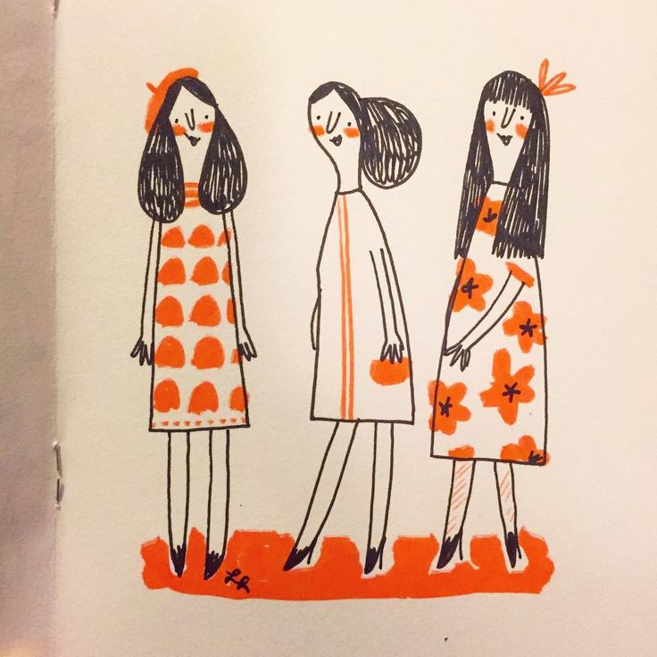 Three ladies. #sketchbook #doodle #drawing #trio #sketch #illustration #linziedraws #art #illustration