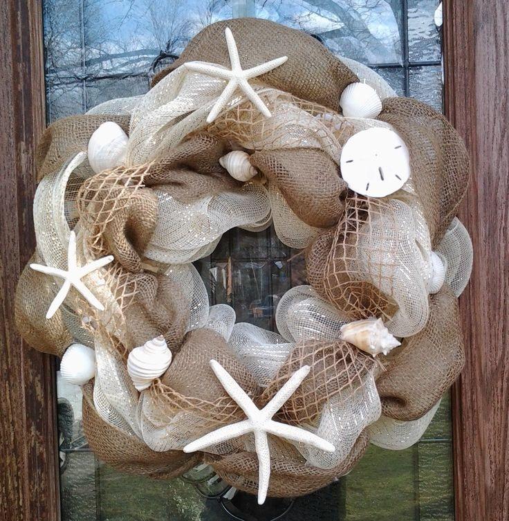 burlap, shells, starfish...love how open weaved ribbon looks like fish net