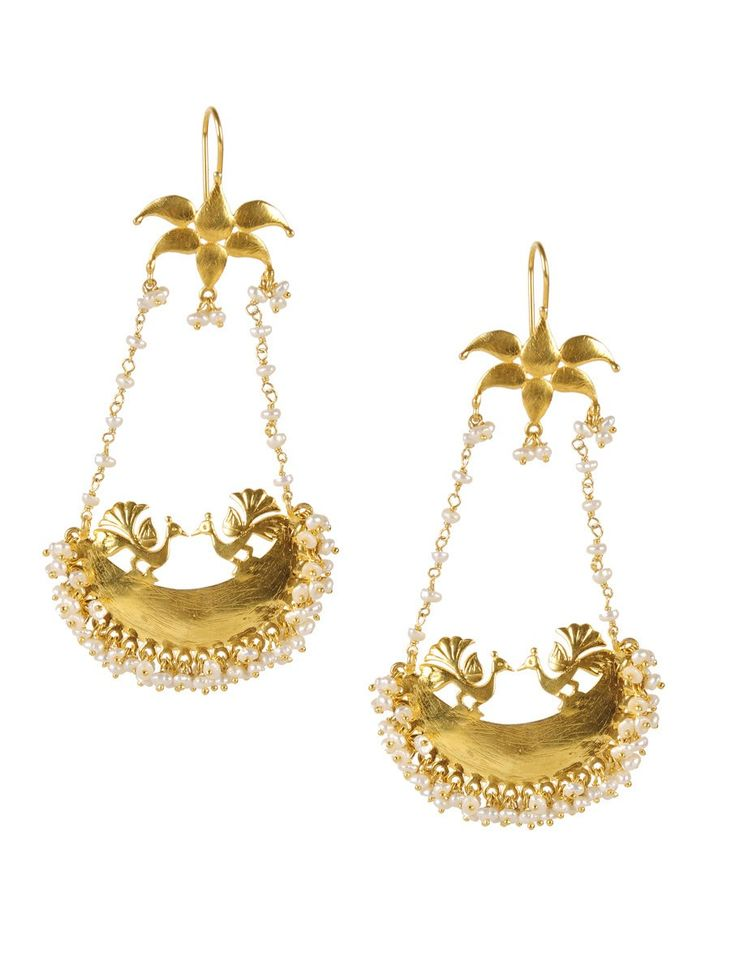 Buy Golden Ivory Peacock Silver Earring 92.5% Sterling Jewelry Lyrical Charm Handcrafted and Andhra Ikat Sarees Online at Jaypore.com