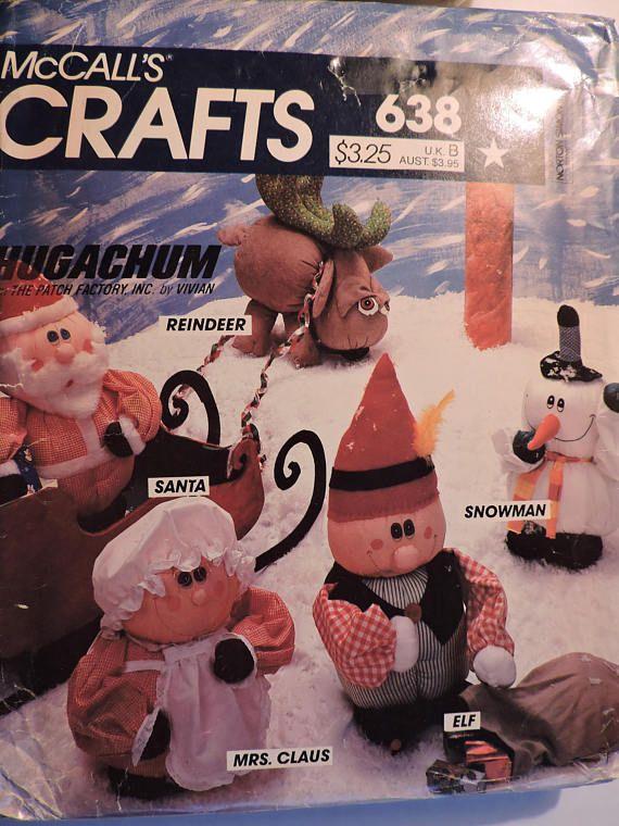 Hugachum Santa Claus Reindeer Snowman Elf Dolls McCall's