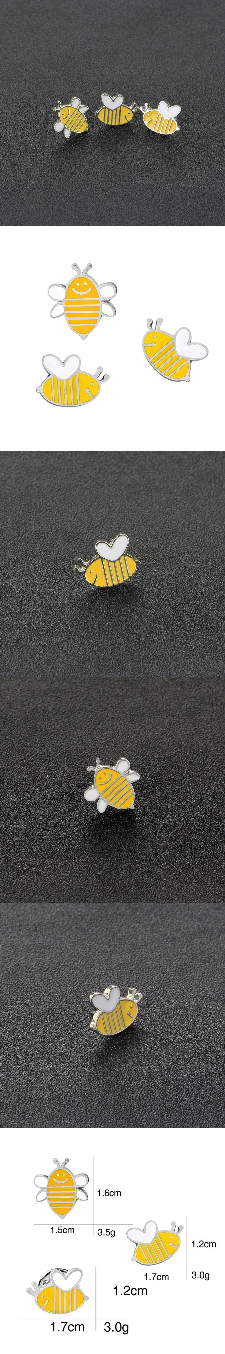 honeybee Pin Set white yellow bee pins and broches mini Cartoon hat bag badge Jewelry Brooches gift For children boys girls