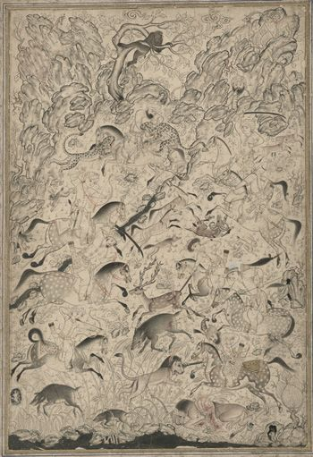 Illustration of an Imperial Hunt mid-16th century Safavid period  Color and gold on paper H: 33.5 W: 23.2 cm  Probably Qazvin, Iran  Purchase F1954.32