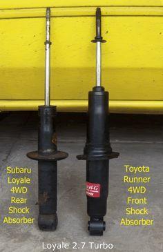 Subaru gl suspension mods. Use honda accord springs and Toyota 4runner struts.