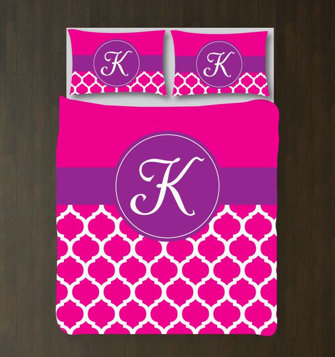 Quatrefoil Bedding Set-Duvet Cover-Shams-Personalized-Monogram Initial-Custom-Hot Pink-White-Purple-ANY COLORS-Twin XL/Full/Queen/King-Size by GatheredNestDesigns on Etsy https://www.etsy.com/listing/214285835/quatrefoil-bedding-set-duvet-cover-shams