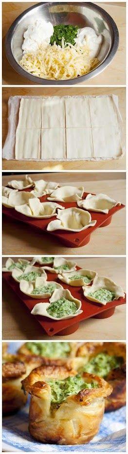 ШПИНАТНЫЕ КОРЗИНКИ Слоёное тесто, сметана, сливочный сыр, замороженный шпинат, чеснок, твёрдый сыр, соль, перец, растительное масло