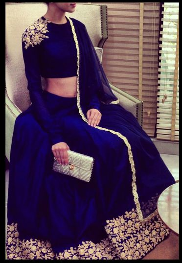 Long sleeve royal  blue lengha
