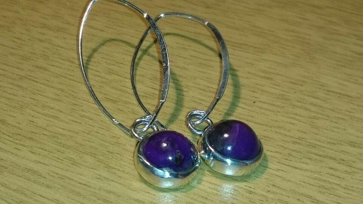 Sterling silver earrings with sugilite gemstone