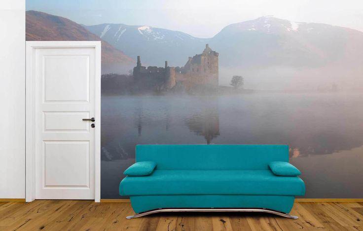 Kilchurn Castle - Poster château dans la brume en Écosse
