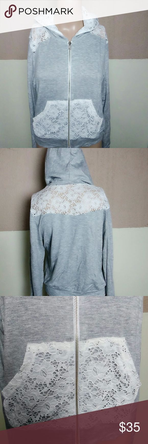 """Gray White Lace Hooded Zip Up Shirt This is like a hoodie, but it is thin. Chest armpit to armpit is 18"""" Length 18"""" Measurements are approximate. This is brand new from my vendor but it does not come with tags. Saga Tops"""