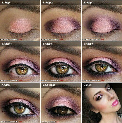 Maquiagem passo a passo.: Make Up, Pink Eye, Eye Color, Eyeshadows Tutorials, Eye Shadows, Hazel Eye, Eyemakeup, Pink Smokey Eye, Eye Makeup Tutorials