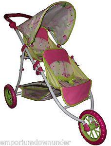 Baby Doll Kid Pram Stroller Toy Twin Tandem 3 Wheeler Jogging Girl New