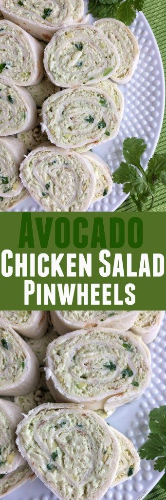 Flour tortilla rolled up with a creamy chicken salad with avocado and cheese. Perfect finger food for a party or make for a light lunch.