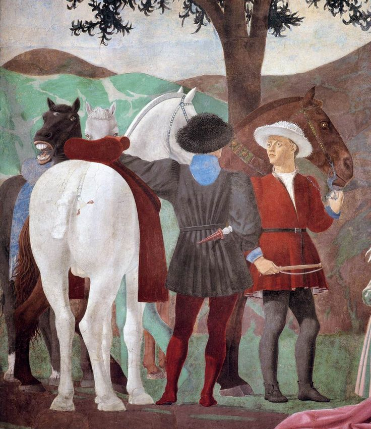 PIERO DELLA FRANCESCA - (1415 - 1492) - The Queen of Sheba in Adoration of the Wood and the Meeting of Solomon and the Queen of Sheba (detail). Fresco. San Francesco, Arezzo, Italy.