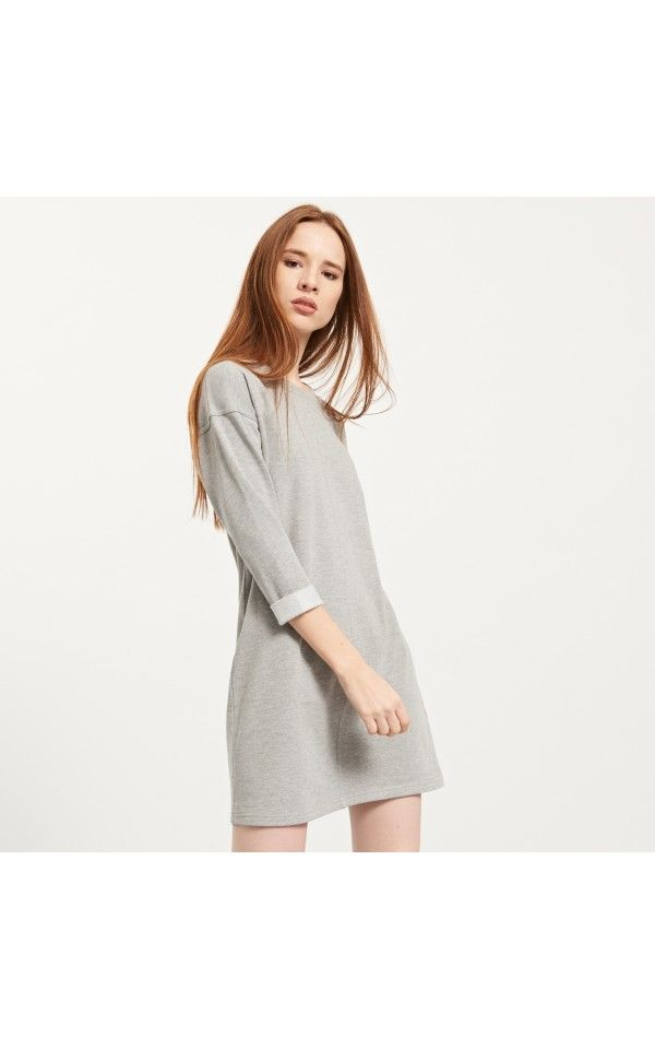 KNITTED DRESS, DRESSES, grey, RESERVED