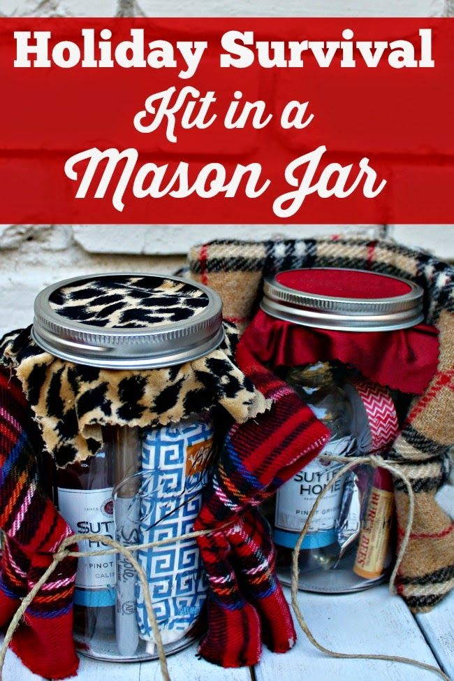 The perfect gift idea for anyone on your list! A Holiday Survival Kit in a Mason Jar!