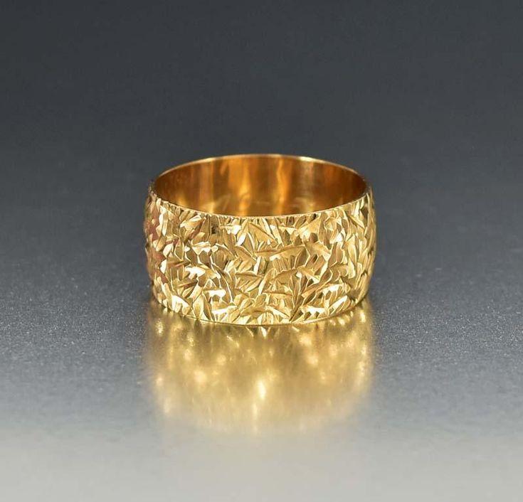 Vintage Diamond Cut Gold Eternity Band Wedding Ring   #intage #Vintage #Gold #wedding #Band #Eternity #Ring #Diamond #Cut #Rings