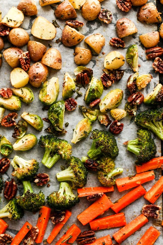 Sage & Garlic Pecan Roasted Vegetables - ilovevegan.com