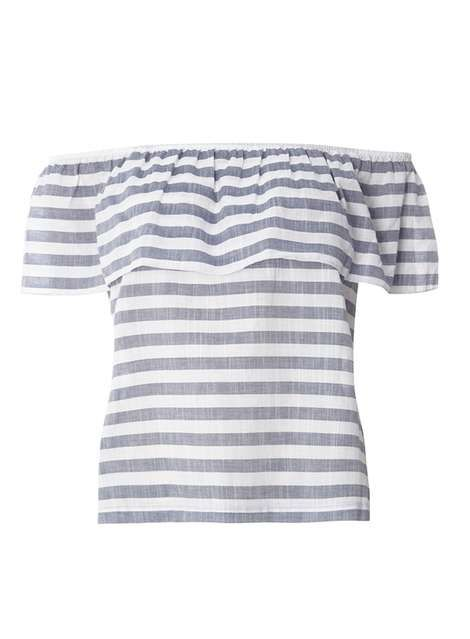 **Vila Blue And White Bardot Top
