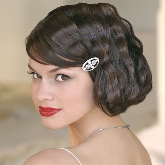 106 best short bridal hair styles images on pinterest short wavy short wedding hairstyle with beautiful crystal hairclip and side bang junglespirit Gallery
