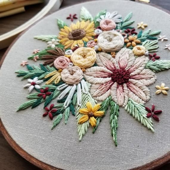 Hand Embroidery Pdf Floral Harvest Pattern Sunflower Bouquet